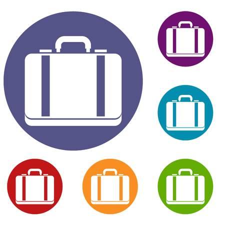Suitcase icons set Illustration