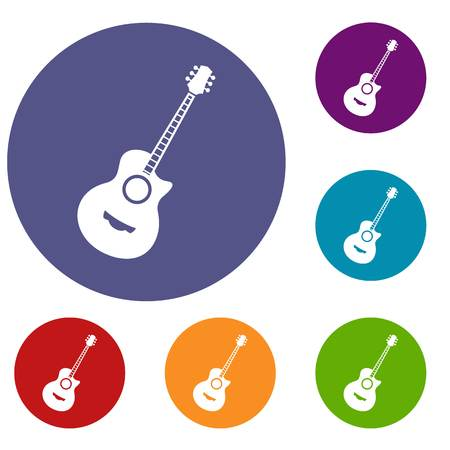 Classical guitar icons set in flat circle reb, blue and green color for web