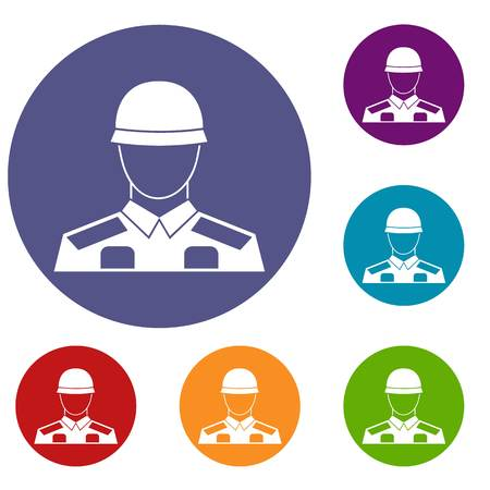 Soldier icons set in flat circle reb, blue and green color for web