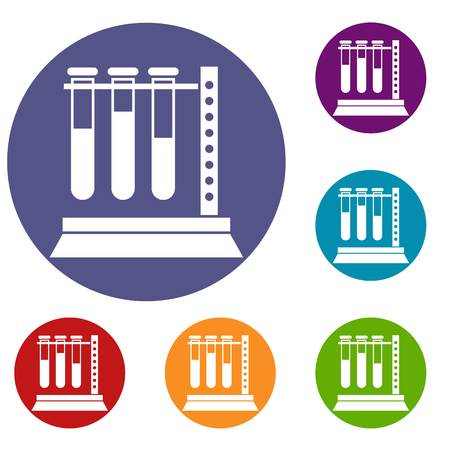 Medical test tubes in holder icons set