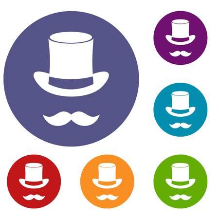hocus pocus: Magic black hat and mustache icons set
