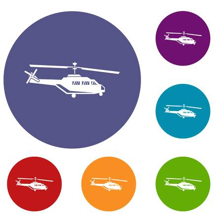chinook: Military helicopter icons set in flat circle reb, blue and green color for web Illustration