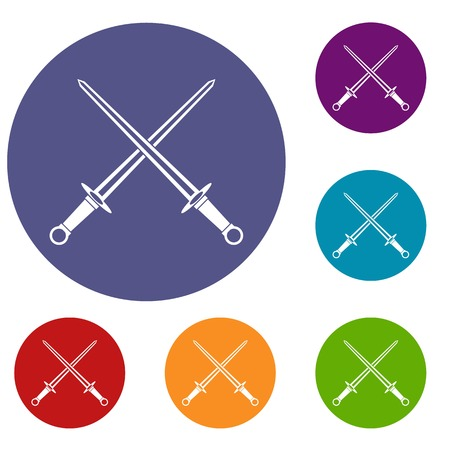 Swords icons set in flat circle reb, blue and green color for web