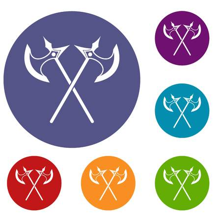 Crossed battle axes icons set