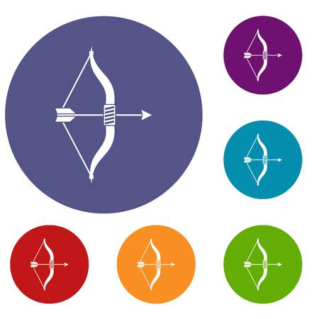 Bow and arrow icons set in flat circle reb, blue and green color for web