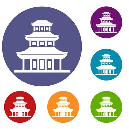 scenery set: Buddhist temple icons set in flat circle reb, blue and green color for web Illustration