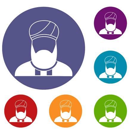 이슬람교 설교자 아이콘 웹에 대 한 플랫 서클 reb, 파란색과 녹색 색상으로 설정 일러스트