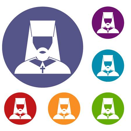 Orthodox priest icons set in flat circle reb, blue and green color for web