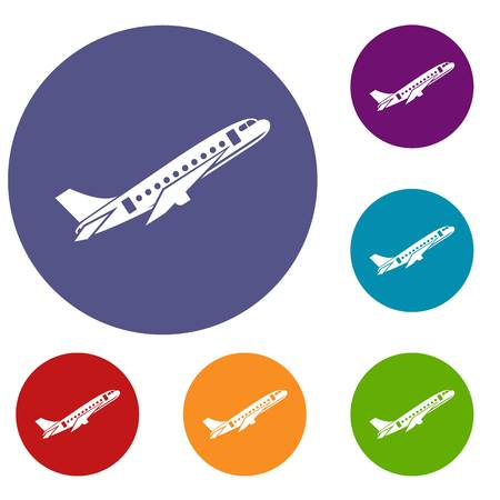 Aircraft icons set in flat circle reb, blue and green color for web