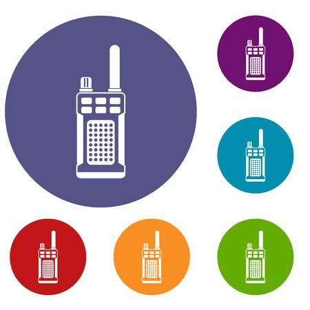 Portable handheld radio icons set