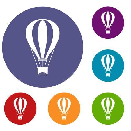 drift: Hot air balloon icons set Illustration