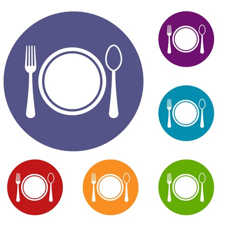 Place setting with plate,spoon and fork icons set in flat circle reb, blue and green color for web