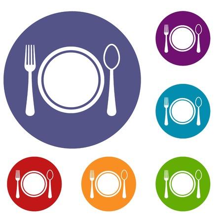 Placez le cadre avec des icônes de plaque, cuillère et une fourchette définies dans la couleur du cercle plat reb, bleu et vert pour le web Banque d'images - 81733613