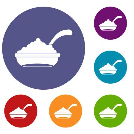 salmon dinner: Bowl of caviar with spoon icons set in flat circle reb, blue and green color for web Illustration