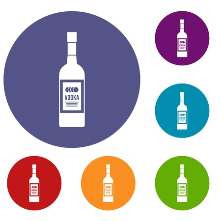 distill: Bottle of vodka icons set in flat circle reb, blue and green color for web