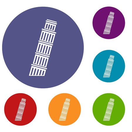 Tower of pisa icons set
