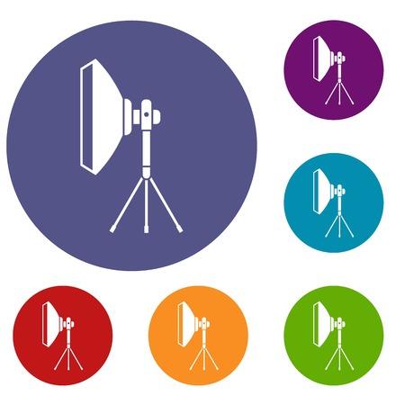 Studio lighting equipment icons set