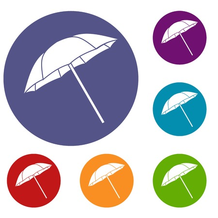 Umbrella icons set in flat circle reb, blue and green color for web Illustration