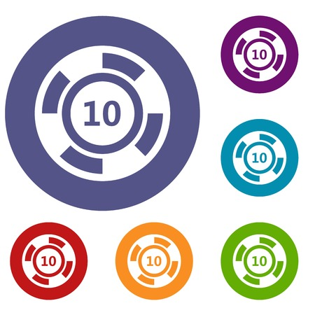 quantity: Casino chip icons set in flat circle reb, blue and green color for web Illustration
