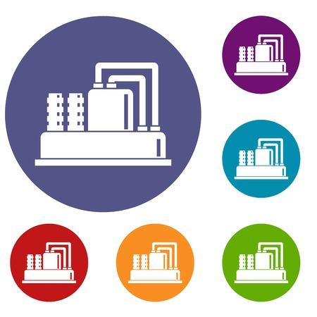 Apparatuur voor productie olie pictogrammen instellen in platte cirkel reb, blauwe en groene kleur voor het web Stock Illustratie