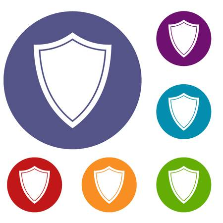 Shield for war icons set in flat circle reb, blue and green color for web Illustration
