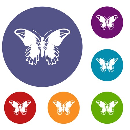 admiral: Admiral butterfly icons set in flat circle reb, blue and green color for web Illustration