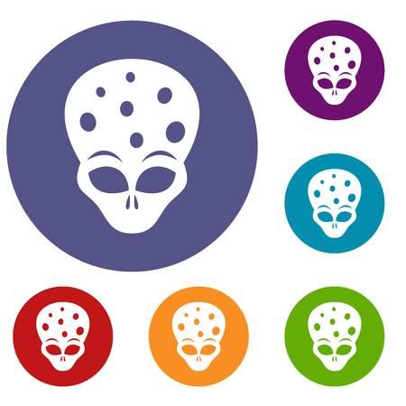 ufology: Extraterrestrial alien head icons set