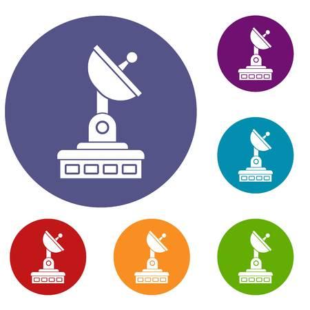 tv tower: Satellite dish icons set