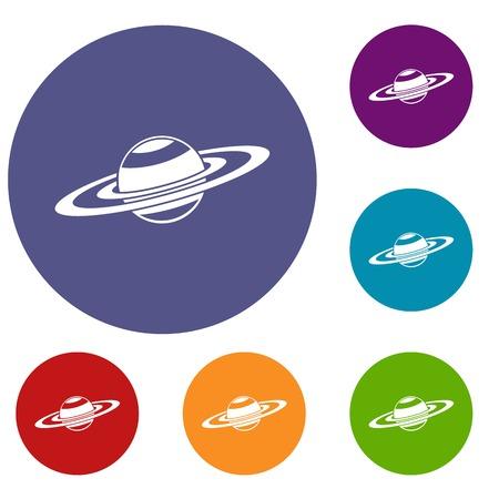 saturn rings: Saturn rings icons set Illustration