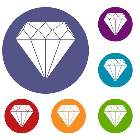 Diamond icons set Illustration