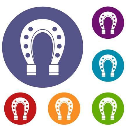 Horse shoe icons set