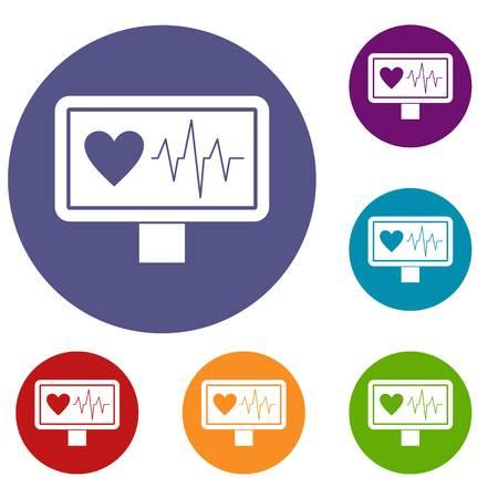 pulsating: Heartbeat icons set Illustration