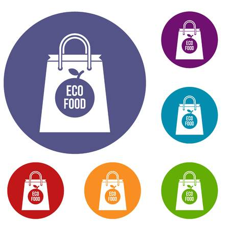 pouch: Eco food bag icons set Illustration