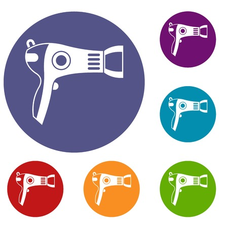 Hairdryer icons set Illustration