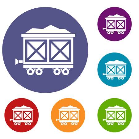 savings account: Cart on wheels with gold icons set Illustration