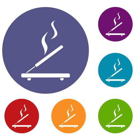 Incense sticks icons set