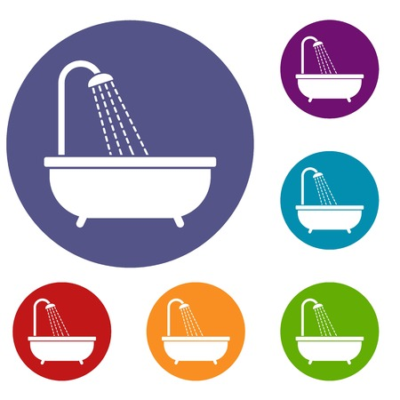 Shower icons set