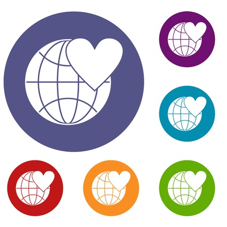 earth day: Earth world globe with heart icons set Illustration
