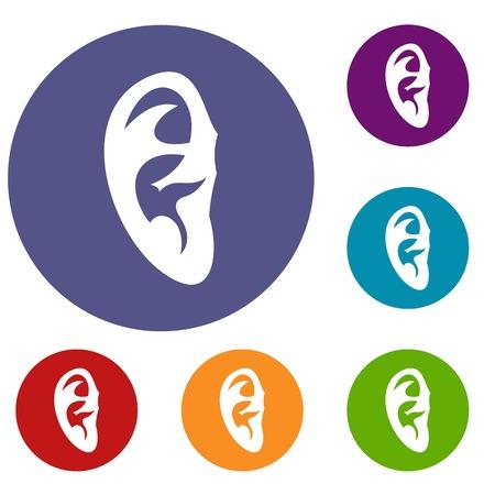 otolaryngology: Ear icons set