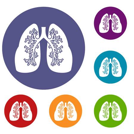 Lungs icons set
