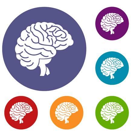 Brain icons set Illustration