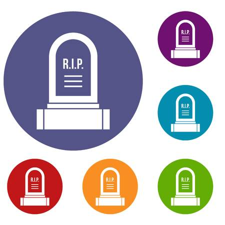 burial: Headstone icons set