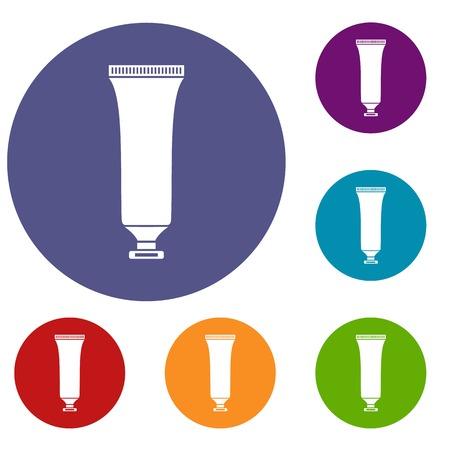 Cosmetic tube icons set