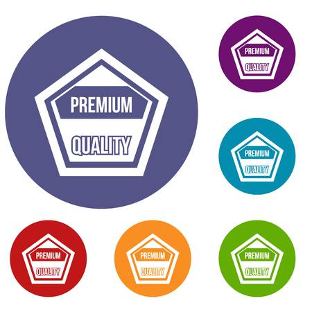 five star: Premium quality label icons set