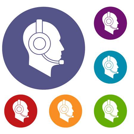 customer service representative: Operator in headset icons set Illustration