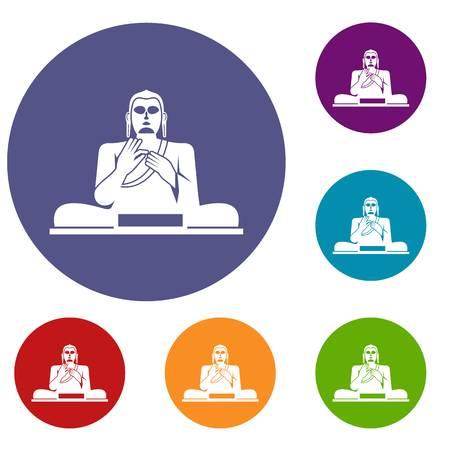 Buddha statue icons set Illustration