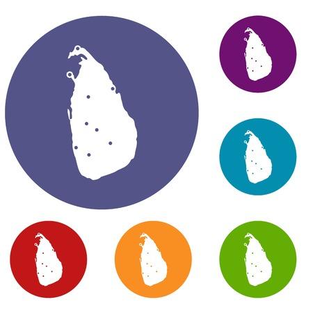 socialist: Map of Sri Lanka icons set