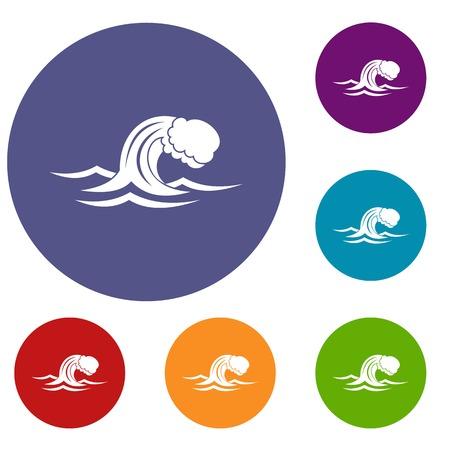 Foamy wave icons set