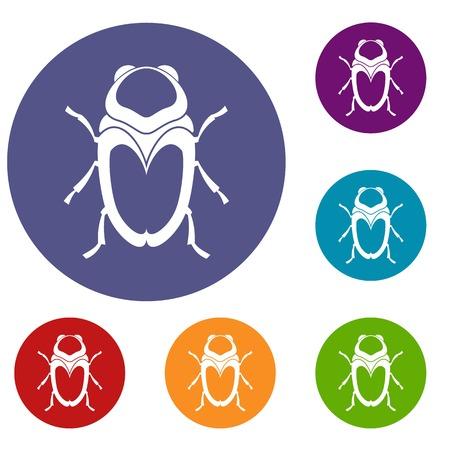 entomology: Scarab beetle icons set