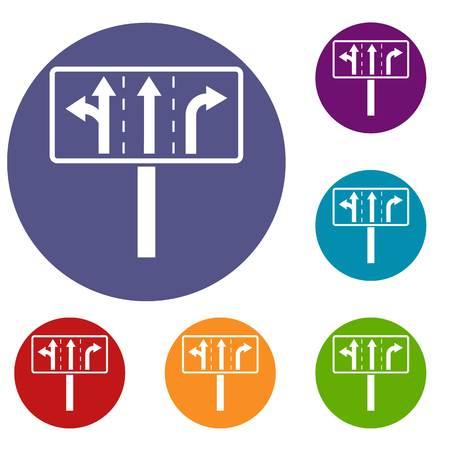 Traffic lanes at crossroads junction icons set. Vector illustration. Illustration